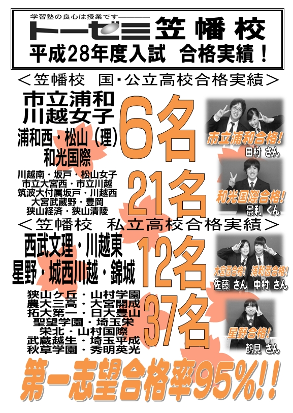 川越市の学習塾トーゼミ笠幡校 平成28年度入試合格実績