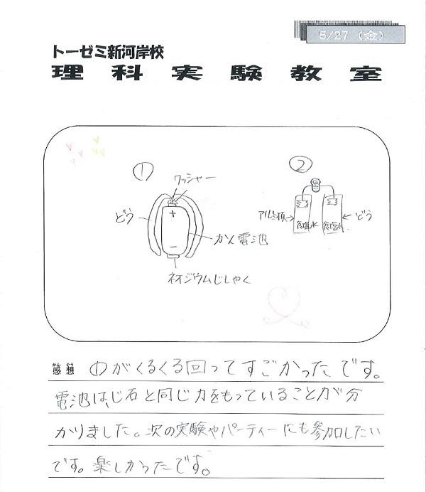 【川越市砂新田の学習塾 トーゼミ】小学生理科実験教室