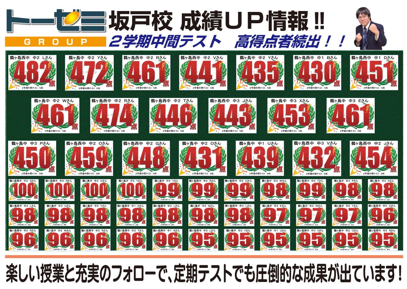 学習塾トーゼミ坂戸校 二学期中間テスト成績アップ情報!